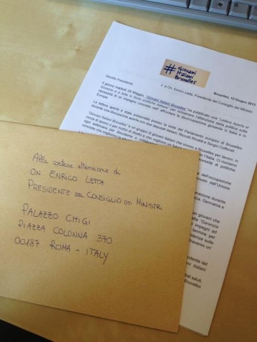 Lettera ed invito al Governo Letta