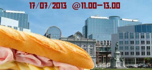 Stagisti non pagati a Bruxelles - la Sandwich Protest davanti al Parlamento Europeo 17 luglio 2013